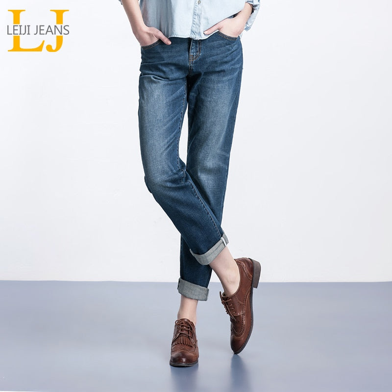 LEIJIJEANS Free shipping Spring Plus Size Fashion Bleached Vintage Mid Waist Full Length Loose Boyfriend Jeans Stretch Jeans For Women