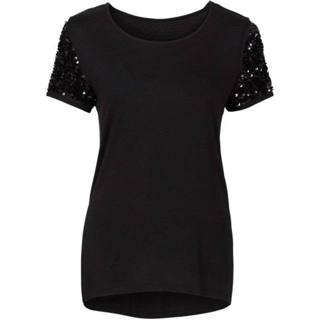 Summer Women Sequin T-Shirt Fashion Female Short Sleeve Tops T-shirt Women Clothing