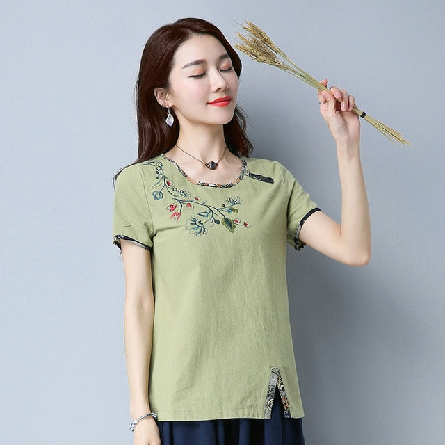 Fashion short sleeve Cotton women blouse shirt plus size summer women tops sweet embroidery women's clothing blusas