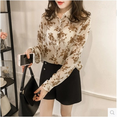 Fashion Women tops and Blouses Chiffon Blouse Shirt Long Sleeve Print Plus Size 3XL 4XL Blouse Women