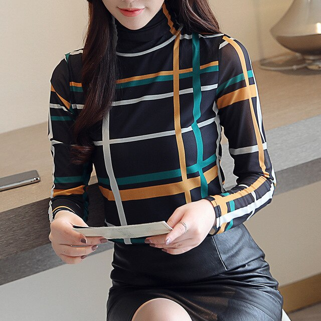 Blusas mujer de moda Free shipping clothes long sleeve women shirts plus size tops striped plaid blouse women's tops and blouses