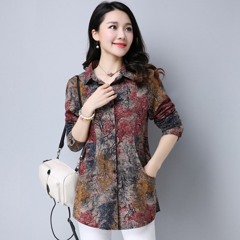 Spring Cotton Linen Women Blouse Casual Loose Long Sleeve Blouses Shirts Plus Size Floral Female Tops