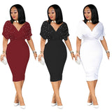 Women Plus Size XXXL sexy clubwear Solid Party Pencil Summer Dresses Midi Online store for sale