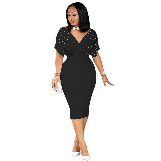women Plus Size XXXL sexy clubwear Solid Bodycon Party Pencil Summer Dresses Midi 2018 New Vestidos