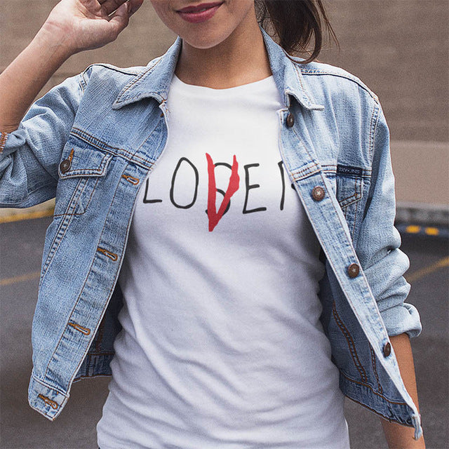 Lover Loser T-shirt Printed Letters Women 100% Cotton Short Sleeve T-shirts Funny Summer Trendy Novelty Style Tops Tees