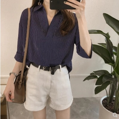 Spring Summer Casual Striped Women Blouses Shirts Sexy Fashion Loose V-Neck Shirt Female Tops Clothing