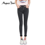 Free shipping Spring Autumn Women Ankle-Length Cuffs Black Jeans Students Stretch Skinny Female Slim Pencil Pants Denim Ladies Trousers