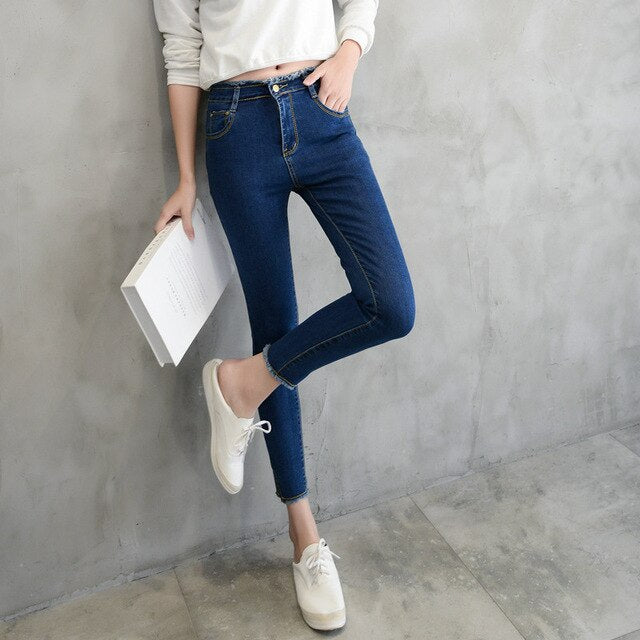 Free shipping Summer Women Ankle-Length Black Jeans Students High Waist Stretch Skinny Female Tassel Pencil Pants Denim Ladies Trousers