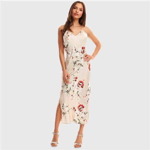 SHEIN Apricot Crisscross Draped Back Split Side Floral Satin Summer Maxi Dress Women Spaghetti Strap Glamorous Sexy Slip Dresses