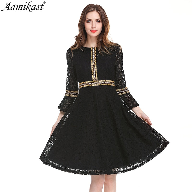 Aamikast Womens Autumn Lace Dress Work Casual Slim Fashion O-neck Sexy Hollow Out black Dresses Women A-line Vintage Vestidos