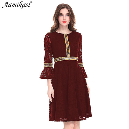 Aamikast Women's Autumn Lace Dress Work Casual Slim Fashion O-neck Sexy Hollow Out black Dresses Women A-line Vintage