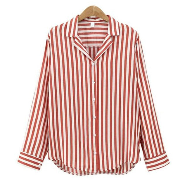 Long Sleeve Casual Shirt Red Black Striped Office Lady Work Blouse Spring Autumn New Fashion Turn Down Collar Top