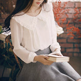 Spring Women Long Sleeve Sweet Peter Pan Collar White Chiffon Shirt Blouses Casual Sweet Spring Blouse Tops