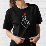 Finger Free shipping Heart T-Shirt lovely Summer Women Gesture Of Love Graphic Print Short Sleeve Tops Cotton Nice Girl T-Shirt