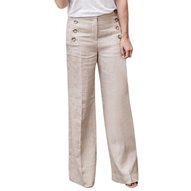Plus Size 3XL Summer New Hot Cotton Linen Women Wide Legs Pants Solid Casual High Waist Button Trousers Female Loose Pants