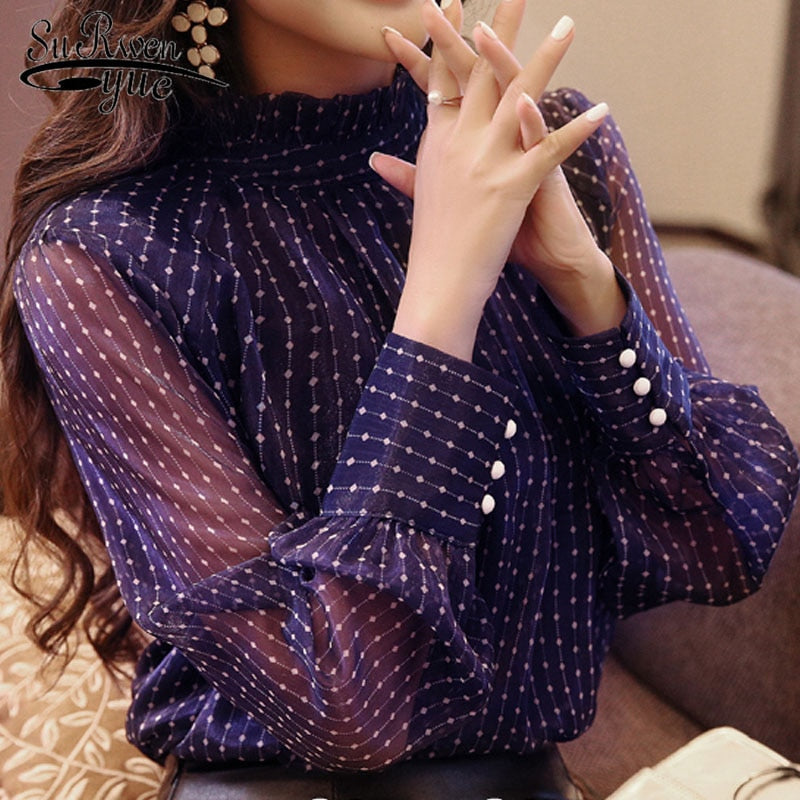 Arrived Free shipping spring blouse women long sleeved shirt female fashion loose blouse office lady clothing
