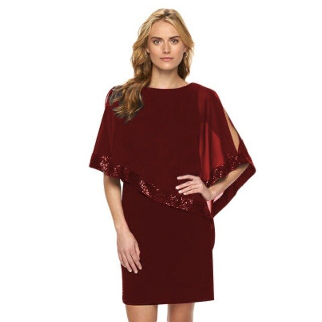 Women Party Dress Sexy Stitching Sequin Half Sleeve Dress Plus Size Solid Color Round Neck Gift