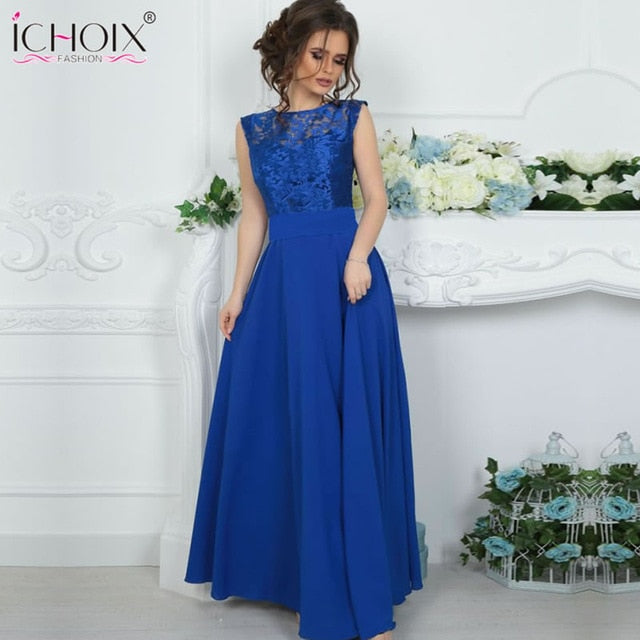 Dress Summer Maxi dress Mesh Blue Lace sexy long dress Women Backless female elegant Party Floor length Dress vestidos Robe