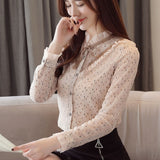 Blusas shirts bow collar wave-point plus size blouse tops lace fashion women blouses
