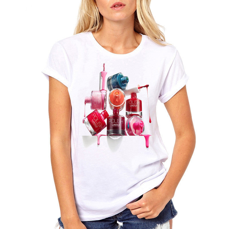Vogue Casual Free shipping T-shirt Women Perfume Lipstick Nail Polish Tops Summer T Shirt women Tshirt white short sleeve t-shirts for girl