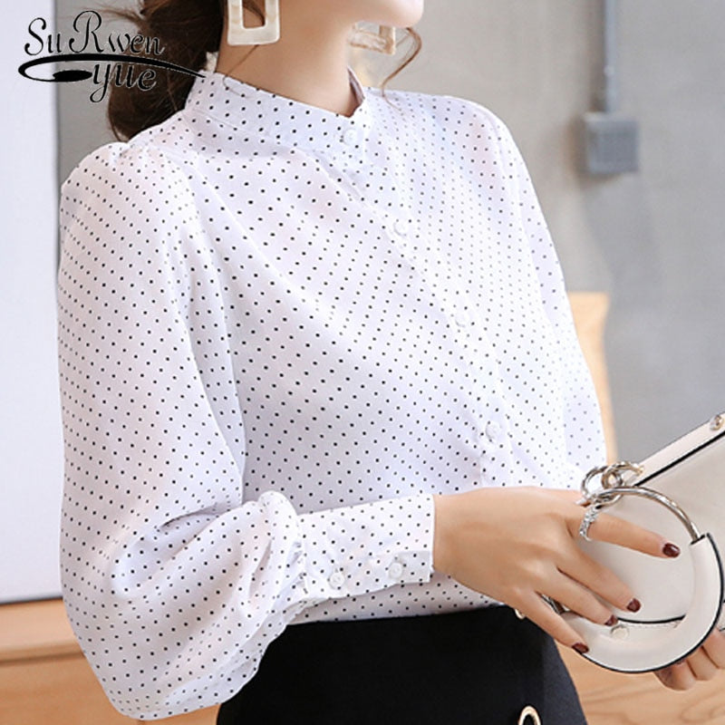 Spring blouse women white shirt female long sleeve Chiffon Blouse office lady fashion tops