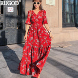 RUGOD Women Spring Summer Dresses Fashion Floral Print Long Red Dress Casual V Neck Tunic Pleated Maxi Dress