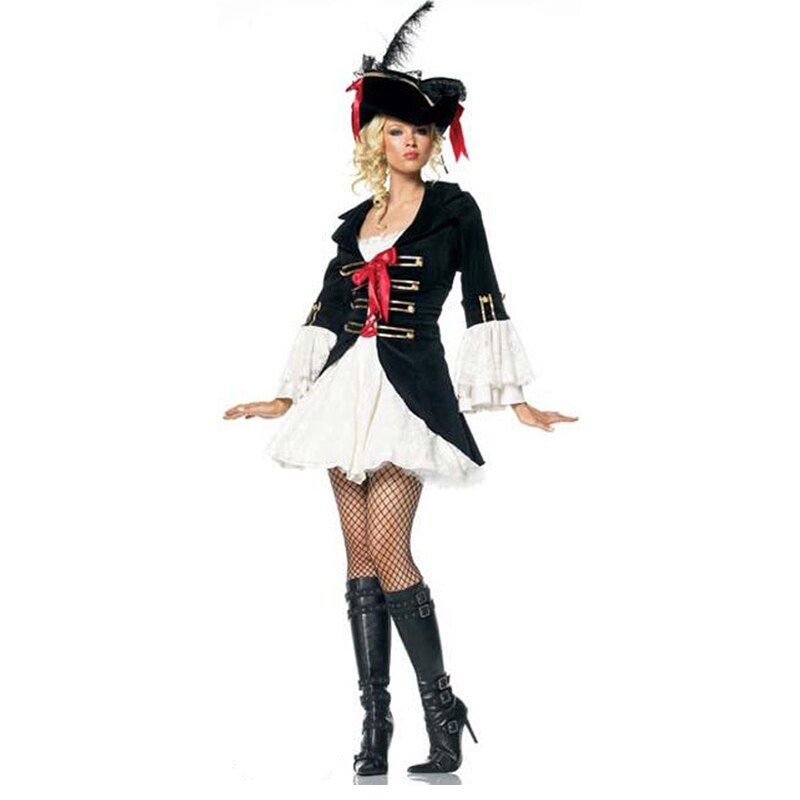 Happy Carnival Costume Sexy Adult Female Pirate Uniform Black Skirt & Hat Attracting Others' Eyes Dress for Carnival,Theme Party
