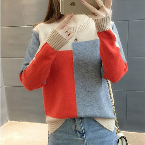 TIGENA Free shipping Contrast Color Winter Sweater Women Long Sleeve Jumper Women Sweater and Pullover Knitted Sweater Female Pull