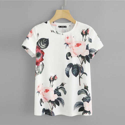 SHEIN Free shipping Flower Print Round Neck T shirt Women Weekend Casual Short Sleeve Summer T-shirt White Going Out Ladies Tops