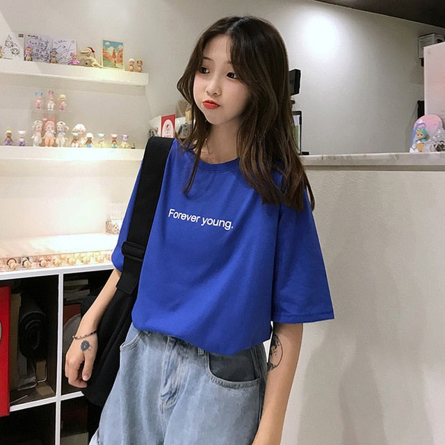 Jielur Free shipping T-shirt Women Harajuku Loose Casual Forever Young Letters T Shirt Summer Hipster Korean Street Basic Tshirts Purple Blue