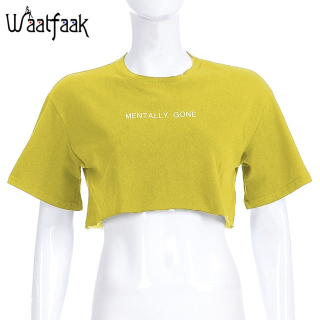 Waatfaat Free shipping Summer Embroidery Letter Basic Crop T-Shirt Loose Casual Women Tee Korean Cute T-shirt Clothing