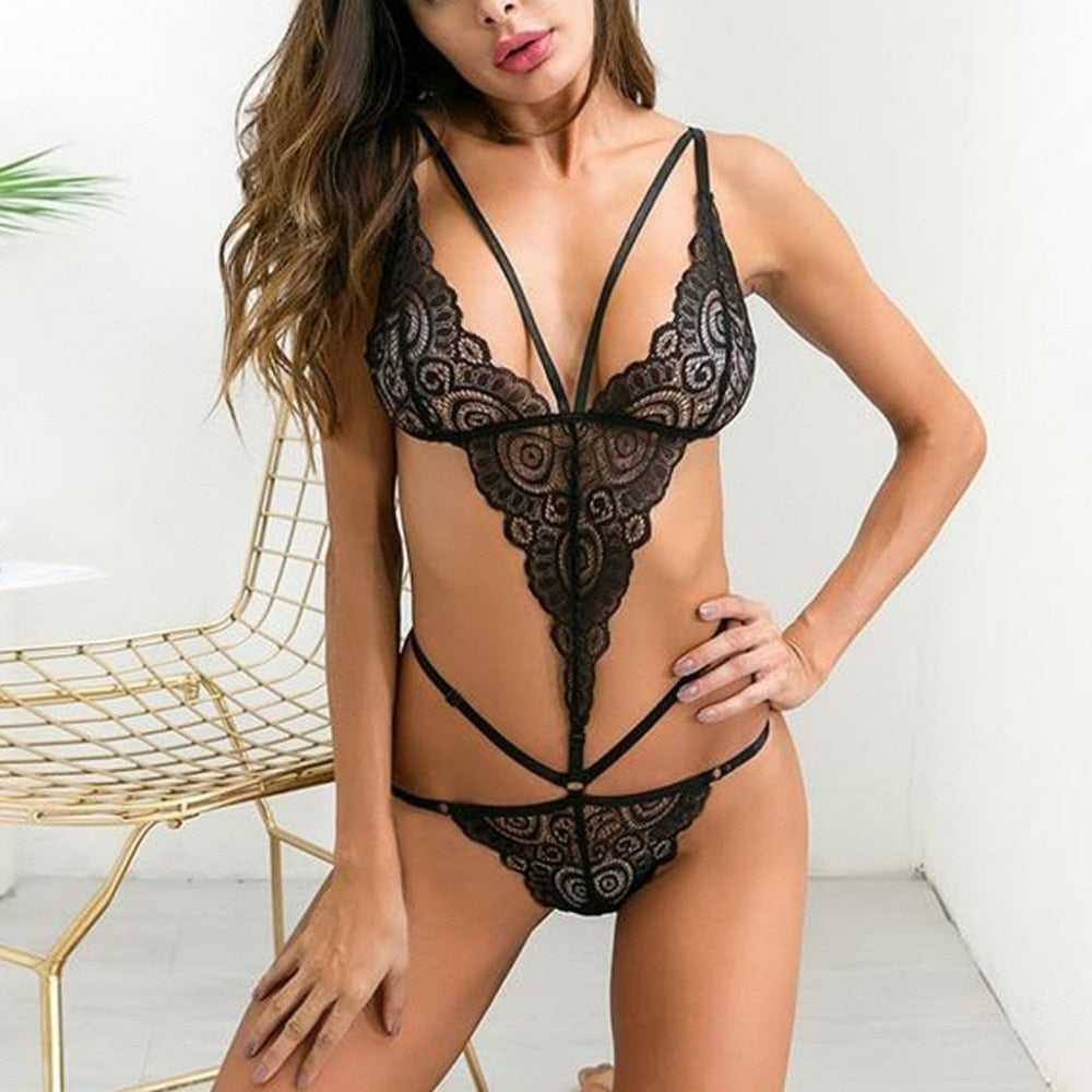Sexy teddy lingerie backless lace women's underwear nightwear online store for sale