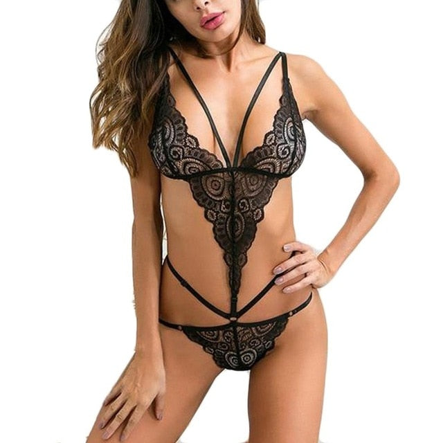 Sexy Erotic Costumes Lingerie Backless Lace Women's Underwear Nightwear Sleepwear Porno Teddy Lingerie