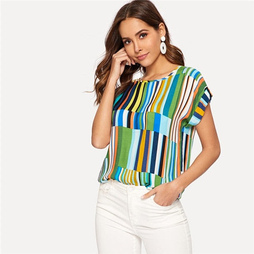 SHEIN Multicolor Free shipping Mix Striped Print Rolled Up T-shirt Casual Loose Scoop Neck Colorblock T Shirt Women Summer Short Sleeve Tops