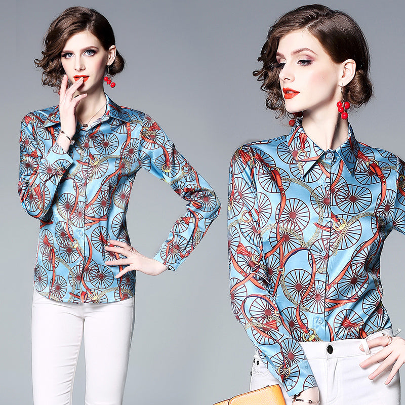 Women's ladies Designer printed Floral long sleeves runway work office shirt top Blouse clothes clothing for women