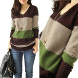 Women Stitching Cashmere Sweater Casual V-neck Knitted Autumn Winter Striped Pullovers