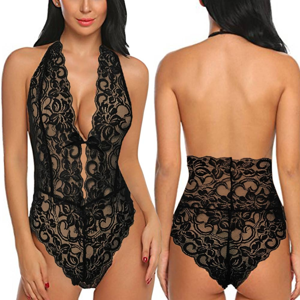 Women Bodysuits One Piece Backless Lingerie Lace V Neck Halter Babydoll women sexy erotic lingerie ropa interior sexy