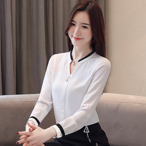 Women's tops and blouses  shirts  Beading  Chiffon blouse  Solid  V-Neck white shirts