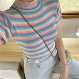 Summer New ice cream color tee-shirt female rainbow striped slim knitting short women t-shirt Top