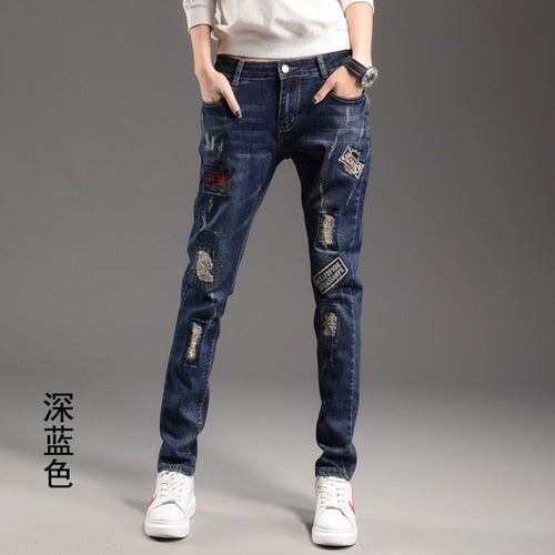 Blue and Light Blue Ripped Women Jeans Free shipping Spring Harem Pants Slim Patch Hole Small Feet Trousers Large Size Student Jeans