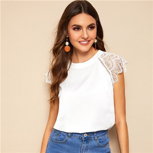 COLROVIE Free shipping White Solid Contrast Lace Cuff Keyhole Back Elegant Blouse Shirt Women Clothes Summer Office Ladies Tops Blouses