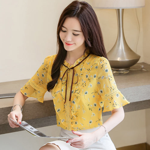 Summer blouse for women plus size women tops print chiffon blouse women short sleeve shirts women's tops and blouses