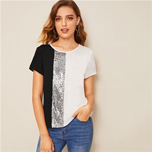 SweatyRocks Free shipping Sequins Contrast Top Streetwear Short Sleeve Clothes Summer Casual Women Basics Style T-Shirts