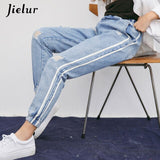 Jielur Harajuku Free shipping Fresh Striped Holes Ripped Jeans for Women Preppy Style Elastic High Waist Jeans Femme Jeans Mujer 2019 Dropship