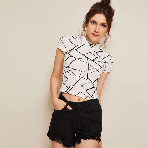 SHEIN Free shipping Geo Print Mock Neck T Shirt Women Casual Short Sleeve Stand Collar T-shirt Summer Slim Fit Crop Top Ladies Tops