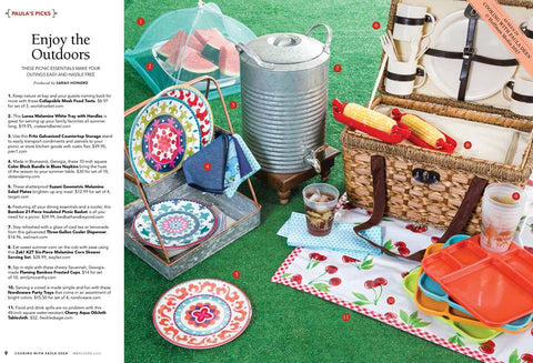 Freckled Sage Cherry White Tablecloth / Picnic Mat in Cooking with Paula Deen Magazine