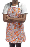 Freckled Sage Oilcloth Apron Cherry Blossom Orange