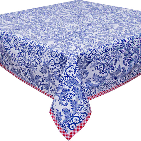 Freckled Sage Oilcloth Tablecloth Blue Toile with Red Gingham Trim