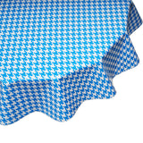 freckled sage round oilcloth tablecloth blue houndstooth