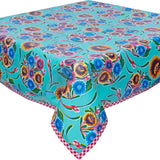 Freckled Sage Bloom Aqua Oilcloth Tablecloth